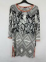ROMAN Ladies tunic 3/4 length sleeves polyester mix white/black floral size 14 n