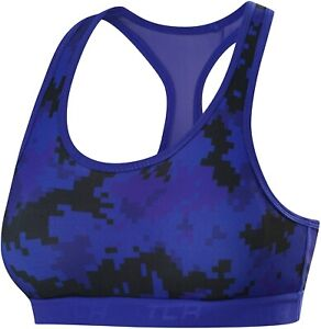 TCA Supreme Graphic Womens Sports Bra Blue with Removable Cups XS S M L