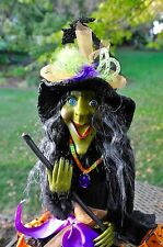 "GREEN FACE Happy FACE HALLOWEEN Sitting WITCH Doll Broom Feathers ""Spooked"" NEW"
