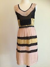 Gorgeous $5K Auth Fendi Runway Couture Beaded 100% Silk Pleated Dress IT38/0/2