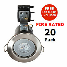 Fire Rated  Satin Chrome Downlights Spotlights FREE LED GU10 Bulb Litecraft