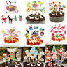 24pcs Christmas Cake Picks Cupcake Toppers Flags Happy Birthday Kids Party Decor