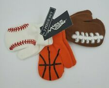 Set of 3 Gloves, Mittens Sports Boys 2T-4T, Baseball Basketball Football, B21 M