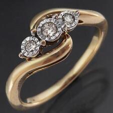 Lively 3 DIAMOND ILLUSION TRILOGY 9k Sold Yellow GOLD ETERNITY RING Lgr Sz P1/2