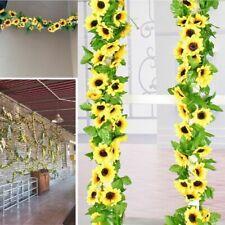 Wholesale Artificial Yellow Sunflower Garland Flower Vine Wedding Floral Silk