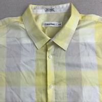 Calvin Klein Button Up Shirt Mens XL Yellow White Check Short Sleeve Casual