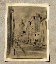 MAX THALMANN, German Expressionist, City Scene, 1915, Original Charcoal
