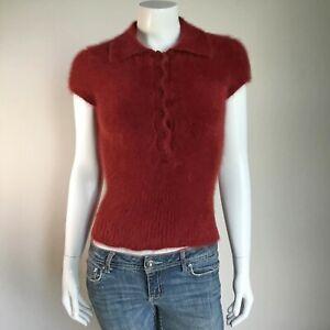 "Fuzzy 80% Angora Vintage J.CREW Brick Short-Sleeve Polo-Collar Sweater 30""-Bust"