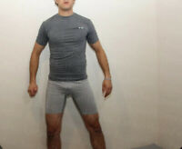 Mens Power Core C9 Fitted Gray Compression Dri-Fit  Gear Short Sleeve Shirt L
