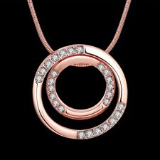 Elegant 18k 18CT Rose Gold Filled GF Double Round Crystals Pendant Necklace N536