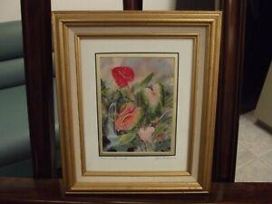 "John Romaine Signed Pencil Print Hawaii Maui 1990's ""Hana Anthuriums"""