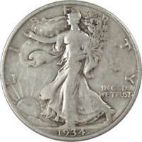 1934 S 50c Liberty Walking Silver Half Dollar US Coin F Fine