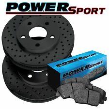 Front PowerSport Black Cross-Drilled Brake Rotors + Ceramic Pads A6301