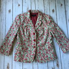 Talbots Floral Blazer Jacket 8 Medium Spring Pink Rose Green Career Wear to Work