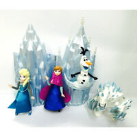 5 Pcs Disney Frozen Figures w/Castle Elsa Anna Olaf Marshmallow Toy Cake Toppers