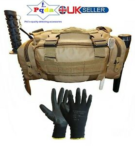 Metal Detecting Detector Finds Bag/Pouch, Probe & Digging Tool Holders + Gloves.
