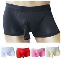 Sissy Men's Boxer Briefs Shorts Open Penis Sheath Panties Lingerie Underwear