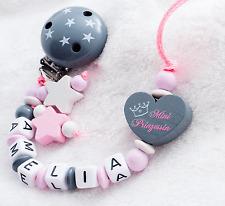 Schnullerkette mit Namen ♥ Mini Prinzessin ♥ Sterne ♥ Baby Mädchen ♥ grau rosa