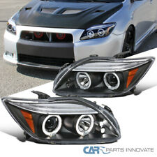 For 05-10 Scion tC JDM Black LED Halo Projector Headlights Head Lamps Left+Right
