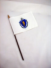 Massachusettes- State Mini Stick Flag- 4 inches by 5 1/2 inches- New!