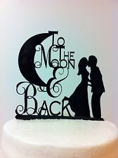 Silhouette To The Moon & Back Bride & Groom Kissing Acrylic Wedding Cake Toppe r
