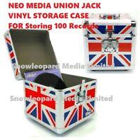 Neo 12'' Inch LP 100 Vinyl Record Aluminum Flight Case DJ Union Jack Storage Box
