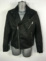 MENS H&M SIZE EUR SMALL BLACK PU FAUX LEATHER ZIP UP CASUAL BIKER JACKET COAT