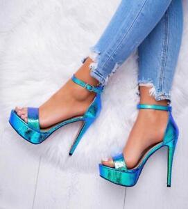 Women's Shoes Sandals Strap Ankle Plateau Metallic Toocool M108