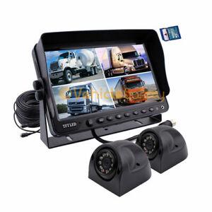 "9"" DVR Monitor 12V/24V Reversing 2x CCD Side Camera 4PIN System For Truck Carava"