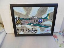 """Incredible """"P-51 Mustang"""" Painting Acrylic on Stretched Canvas Framed 18"""" X 14"""""""