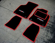 Black/Red SUPER VELOUR Car Mats to fit Audi TT Mk1 (99-06) + TT RS Logos (x2)