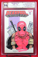 DEADPOOL #1 (Marvel 2016) PGX (not CGC) 9.6 NM+ Sketch Cover by CORY HAMSCHER !!
