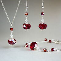 Red crystals silver pendant necklace bracelet earrings wedding bridesmaid set