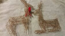 Vtg 2.Gold Wire with glitter Reindeer  Figurines