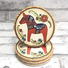 Red Dala Horse Dalahäst Drink Mug Coaster Set of 4 Ceramic w. Cork Backing