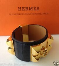 HERMES CDC COLLIER DE CHIEN BLACK ALLIGATOR GHW CUFF BRACELET BANGLE