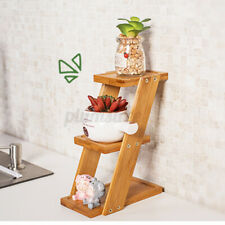 Plant Rack Flower Stand Bamboo Wooden Shelf Storage Garden Indoor Outoor