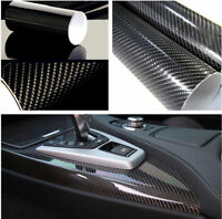 Premium 5D Black Gloss Carbon Fiber Vinyl Wrap Bubble Free Air Release DIY Film