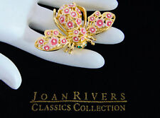 Joan Rivers Cherry Blossom Pink Flowers BEE PIN BROOCH Large Enameled Gold NWOB