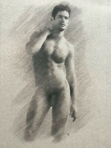 Male Nude original drawing by Arthur Smith, sexy man, gay interest