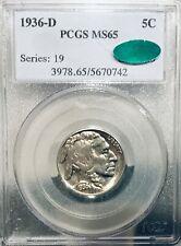 1936 D MS65 PCGS Buffalo Nickel CAC