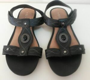 BARE TRAPS sandals, BLACK LEATHER, low wedge heel, hook & loop closure, size 7