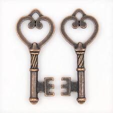 20 BULK Charms Key Charms Pendants Steampunk Keys Antiqued Copper Heart Key 47mm