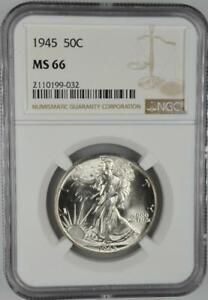 1945 Walking Liberty Half Dollar NGC MS 66 No Reserve Auction 99C Opening Bid