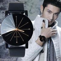 Classic Men's Watch Leather Round Dial Stainless Steel Quartz Analog Wrist Watch