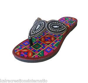 Women Slippers Traditional Indian Handmade Leather Flip-Flops Jutties US 6-10