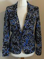 Topshop Size 8 Ladies Blue Blazer Coat Jacket With Black & White Floral Print