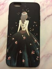 3D Pretty Long Hair Girl Phone Case for iPhone6/6s Green dress&Black background