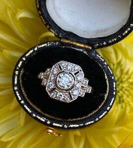 Art Deco Diamond Cluster Ring 0.75ct Platinum