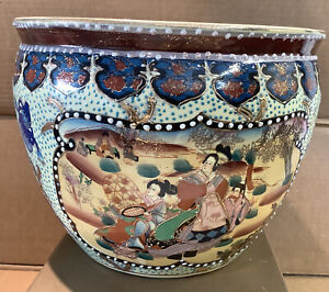 Large Chinese/Japanese Fish Bowl Heavy Vase